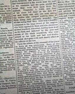 WAHALAK MS Mississippi RACE RIOT Negroes Blacks 1888 Newspaper Black