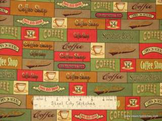 Coffee Shop Java Brew Cup Cotton Novelty Fabric Yard