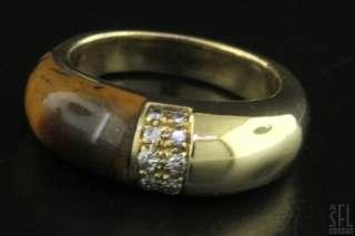 RUTH SATSKY HEAVY 18K YELLOW GOLD 0.20CT VS1/G DIAMOND TIGERS EYE