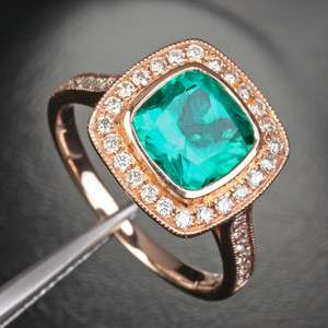 EMERALD .45ct Pave DIAMOND 14K ROSE GOLD ENGAGEMENT Halo Milgrain RING