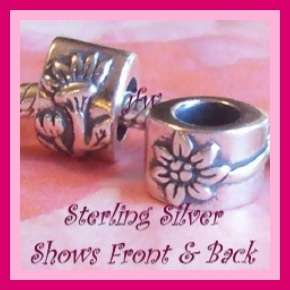 Flower Solid STERLING SILVER European Charm Bead(X 13)