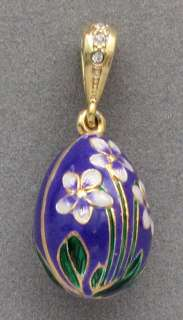 Purple Egg Pendant, Sterling Silver, Gold Plated & Swarovski Crystal