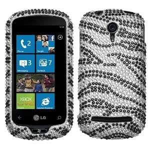 Zebra Skin Diamante Protector Faceplate Cover For LG C900(Quantum