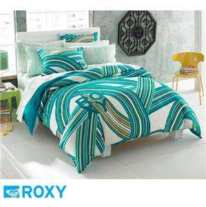 TWIN Girls Teen ROXY Teal Blue White SURF STRIPE Comforter Sheets