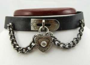 Punk EMO Biker Gothic Heart Lock Choker Necklace TEN102