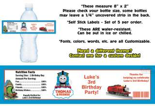 Thomas the Train Tank Printed Water Bottle Labels Birthday Party