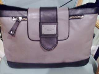 NEW KENNETH COLE NY Smooth Gray Black Leather Purse Bag Satchel Tote $