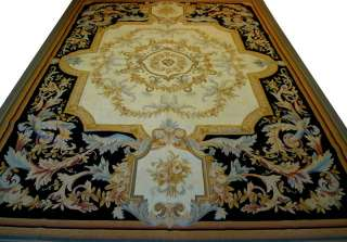 x12.2 Real French Aubusson Hand Woven Rug $3697, 100% Wool, Black