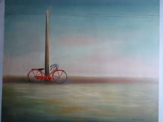 VINTAGE LARGE CANVAS OIL PAINTING LANDSCAPE BIKE SIUARE
