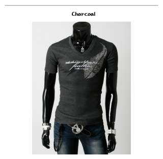 Mens Casual Slim Fit Short Sleeve Feather Design Cotton T Shirts Top