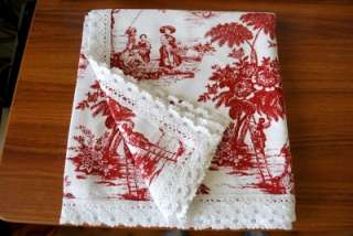French Country Farm Toile Fabric Table Cloth 110cm Red