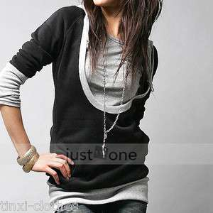 Women Girls Casual Cool U neck Long Sleeve Hooded Sweatshirt Black T
