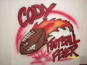 Airbrush football with flame T shirt personalized