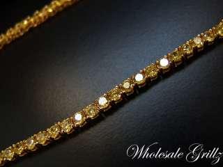 299 Mens Simulate YELLOW Diamond Gold Gp HIP HOP CHAIN ~CUSTOM MADE