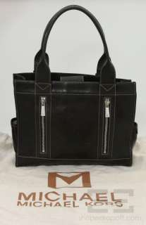 Michael Michael Kors Black Leather Topstitched Handbag