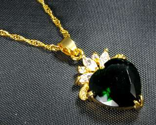 Valentine Heart Green Emerald 18K Gold Plated Pendant