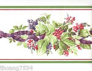 Red Berry Purple Ribbon Grape Garland Green Ivy Leaf Vine Wall paper