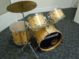 Piece Blonde Ludwig Drum Set with Cymbal Stand Blue and Olive Badges