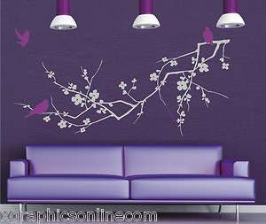 Large Cherry Blossom Branch Tree Birds Wall Art Sticker bedroom lounge