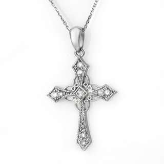 Natural 0.45 ctw Diamond Cross Necklace 14K White Gold