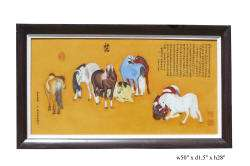 Chinese Porcelain Eight Horses Painting Wall Decor s411