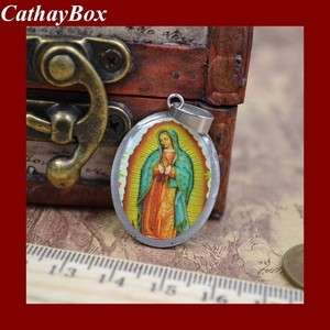 New Stainless Steel Enamel Blessed Virgin Mary Mother Oval Necklace