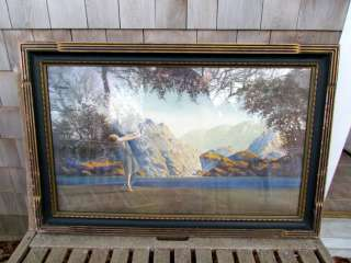 Large Antique 1930s Art Deco Fantasy Print, School of Maxfield Parrish