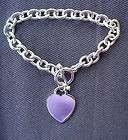 SILVER HEART TAG BRACELET W/TOGGLE CLASP 7 INCHES