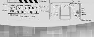 Movie Film Slate Clapper board Digital Alarm Desk Wall Calendar Clock