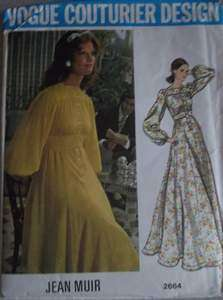 70s Vogue Pattern 2664 Sewing Misses Dress Couturier Design Jean Muir