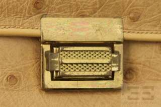 Designer Vintage Tan Ostrich Leather Small Flap Handbag