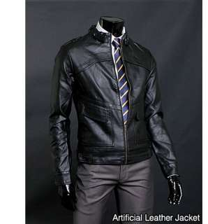 Simple Design Black Mens Rider Leather Jacket US Size M