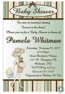 MODERN BABY SHOWER INVITATIONS green & brown