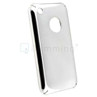 Silver Chrome Hard Shell Snap On Case Skin Cover For Apple iPhone 3GS