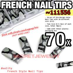 70 pcs Acrylic French False Nail Tips 21 Lovely Design