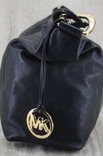 Michael Kors Oversized ID Chain Black Leather hobo Bag