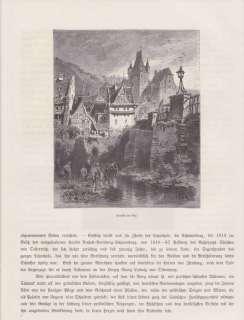 Ansicht Diez Lahn Schloss Schaumburg HOLZSTICHE um 1880