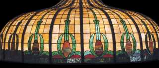 Large Victorian Stained Glass Dome Light Fixture