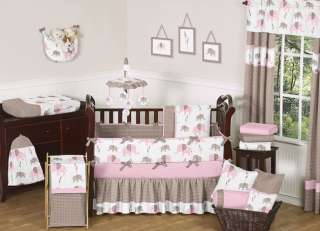 DISCOUNT PINK AND BROWN MOD ELEPHANT DESIGNER GIRL BABY BEDDING CRIB