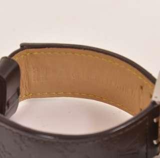 Authentic Louis Vuitton brown leather watch belt bracelet Tambour L426