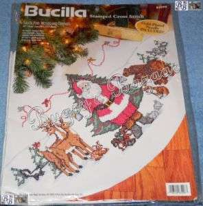Bucilla SANTA & WOODLAND ANIMALS Stamped Cross Stitch Christmas Tree