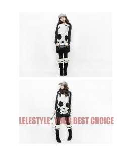 2011Korean Style Womens Boat Neck Skull Mini Dress Loose Long T