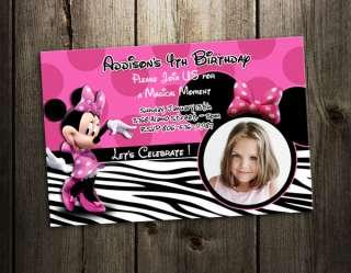 MINNIE MOUSE ZEBRA BIRTHDAY PARTY INVITATION PHOTO 1ST CUSTOM CARD