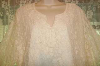 Lovely COLDWATER CREEK Stretchy SOFT Ivory LACE BLOUSE~Tunic TOP~Plus