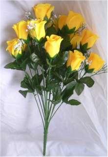 Long Stem Silk Rose Buds Wedding Bouquet Centerpiece Roses Flowers