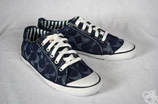 COACH Barrett 12CM Signature C Indigo Sneakers Womens Shoes New A1096
