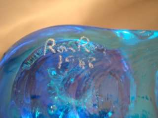 Ron Ray Signed Bluebird Blue Bird Glass Candle Holder