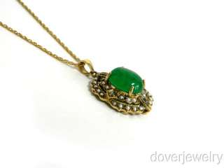 Antique Old Cut Diamond Gold Green Jade Pearl Pendant NR