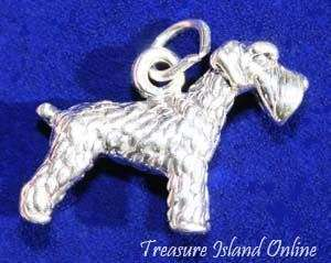 SCHNAUZER DOG BREED 3D .925 Solid Sterling Silver Charm Pendant