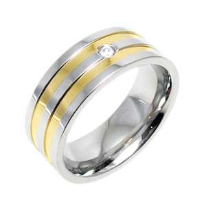 Steel Mens Dual Gold Stripe CZ Comfort Fit Wedding Band Ring Size 8 13